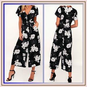 North Pacific  Floral  Print Culotte Jumpsuit
